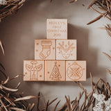 Personalised wooden blocks first Christmas
