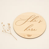 Having a girl? She's here, wooden birth announcement plaque