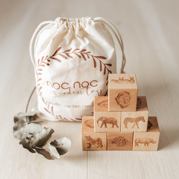 African Animals Wooden Blocks - noc noc wooden toys Blocks