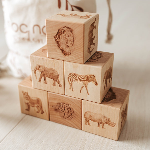 African Animals Wooden Blocks - noc noc wooden toys Australian made.