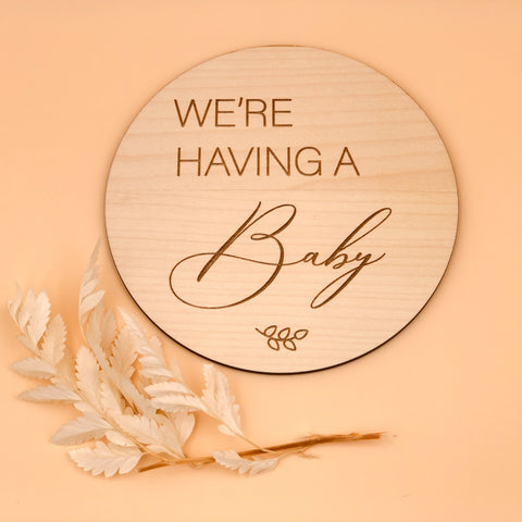 Wooden pregnancy announcement plaque we're having a baby