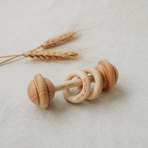Personalised wooden rattle with teething rings