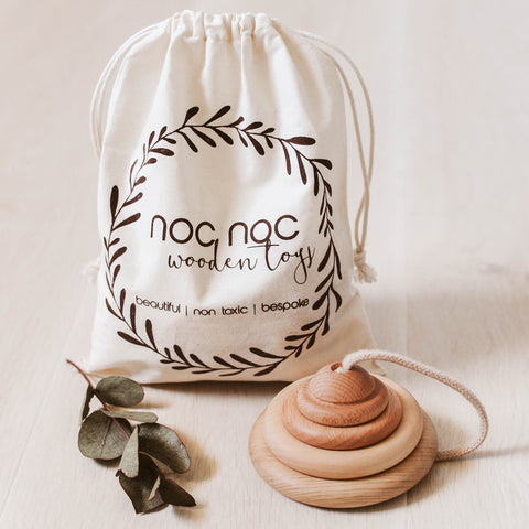 Organic Wooden Ring Stacker - noc noc wooden toys Educational Toy
