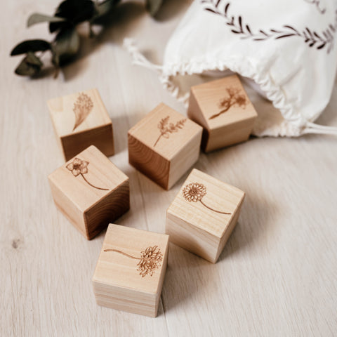 Vintage Flower Wooden Blocks - noc noc wooden toys Blocks