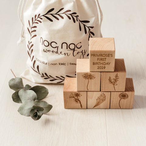 Personalised Happy Birthday Blocks - noc noc wooden toys Blocks