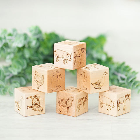 Traditional Farm Animals Wooden Blocks - noc noc wooden toys Blocks