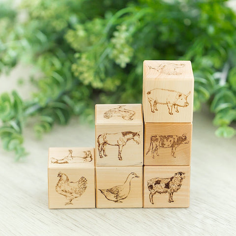 Farm Animals Wooden Blocks