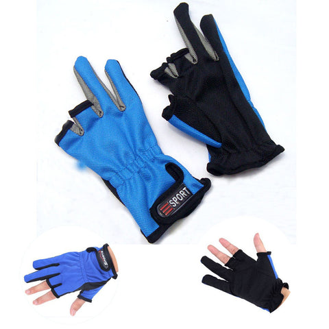 Three Cut finger fishing gloves Anti Slip Fishing Gloves