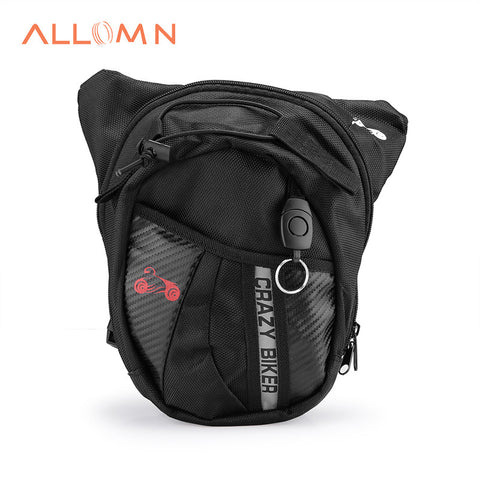 ALLOMN Canvas Motorcycle Tactical Fanny Pack Multi-functional Outdoor Riding Hip Leg Bag Waist Pack Black