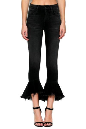 Frayed Flare Crop Jeans