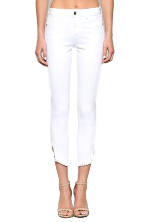White Hem Detail High Waist Skinny