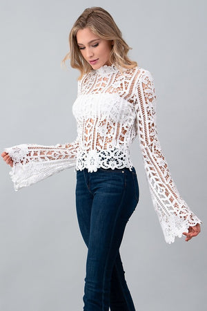 Sheer Bell Sleeve Blouse