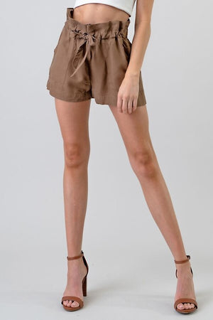 Tan Front Tie Shorts