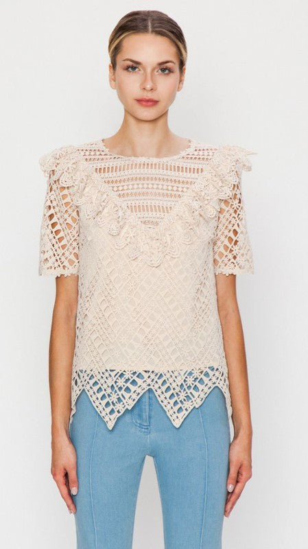 Floral Lace Oatmeal Top