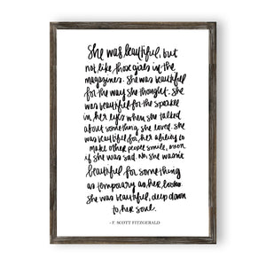 Sweet Water Decor - She Was Beautiful - F. Scott Fitzgerald Oute Wood Sign 18x24