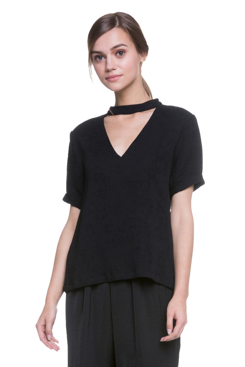 Cutout Mock Neck Top