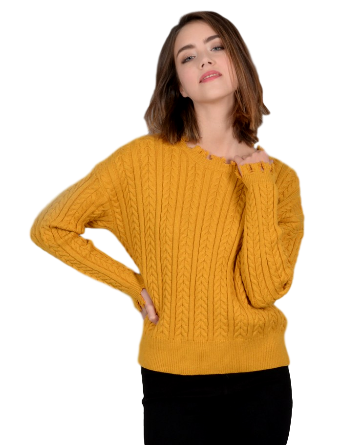Yellow Young Ladies Knitted Sweater