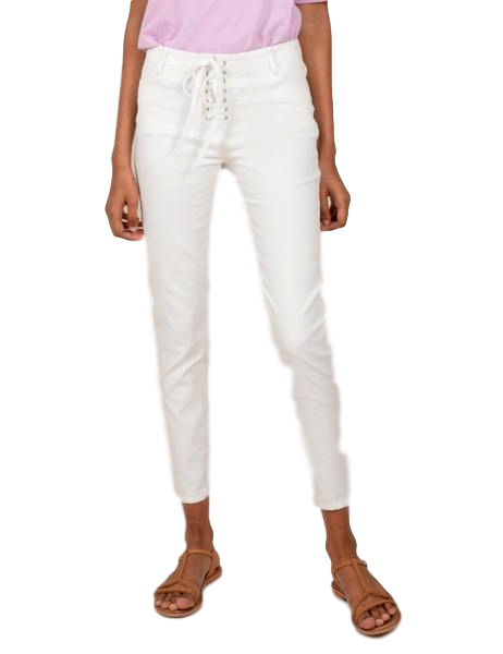 White Lace-up Jeans