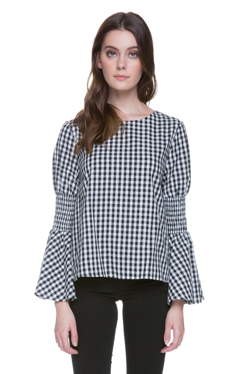 Bell Sleeve Gingham Top