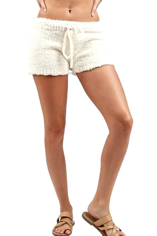 Cream Berber Fleece Shorts