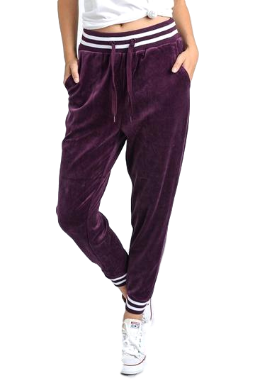 Velour Striped Cuff Joggers