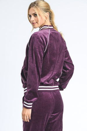 Velour Striped Track Jacket