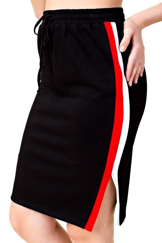 Athletic Striped Pencil Skirt