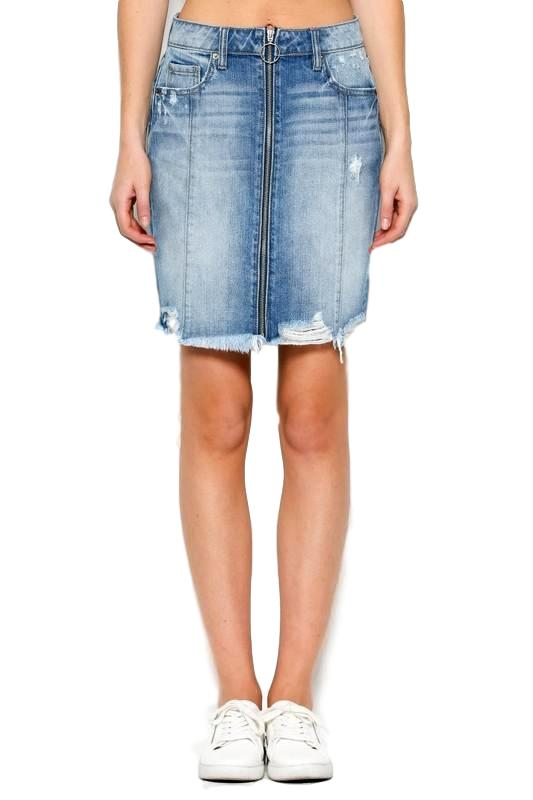 Zipper Front Jean Skirt