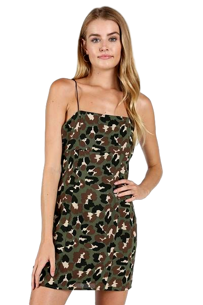 Camo Leopard Print Mini Dress