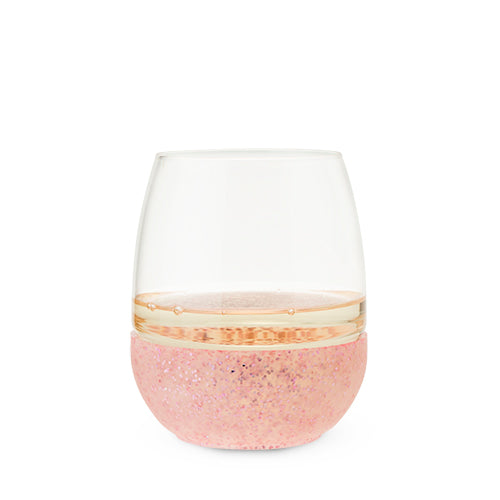 Blush - Glimmer: Pink Glitter Silicone Wrapped Stemless Wine Glass