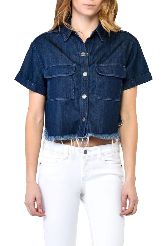 Frayed Denim Crop