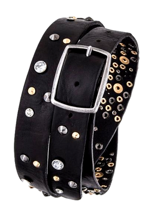 Mix Studs Distress Leather Belt