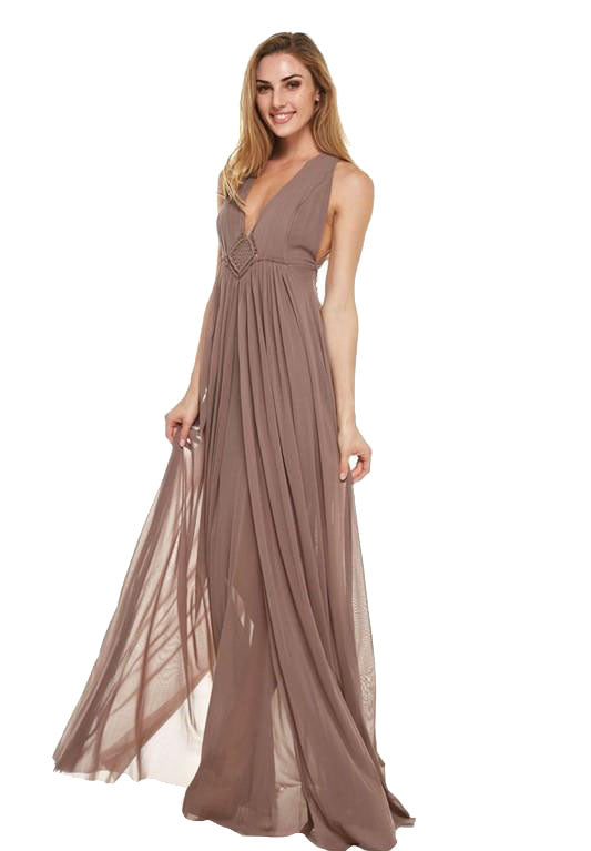 Gorgeous Tie Trim Maxi Dress