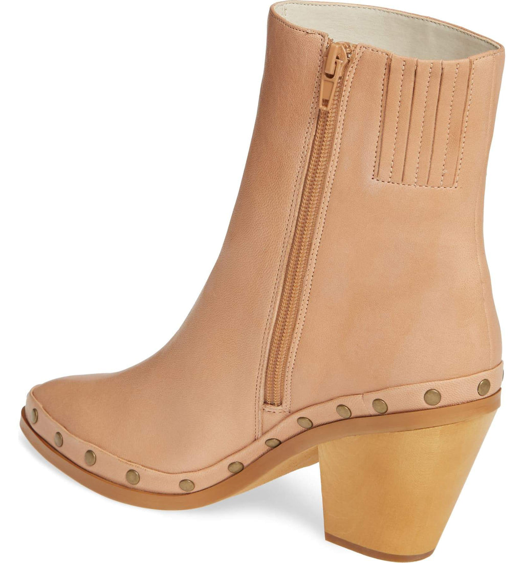 Empire Natural Leather Studded Bootie