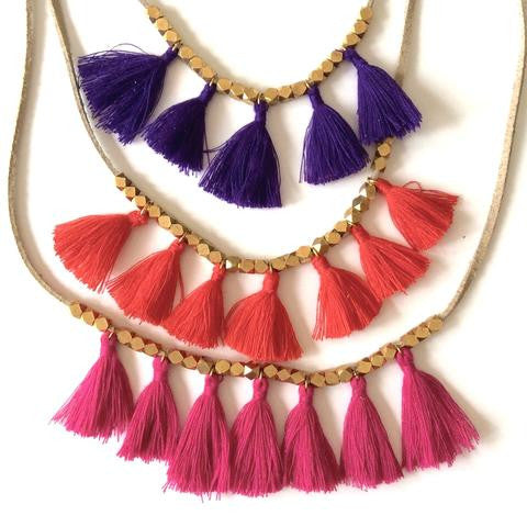 Suede Beige Tassel Necklace