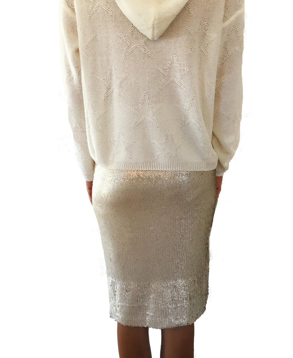 Nude Sequin Pencil Skirt