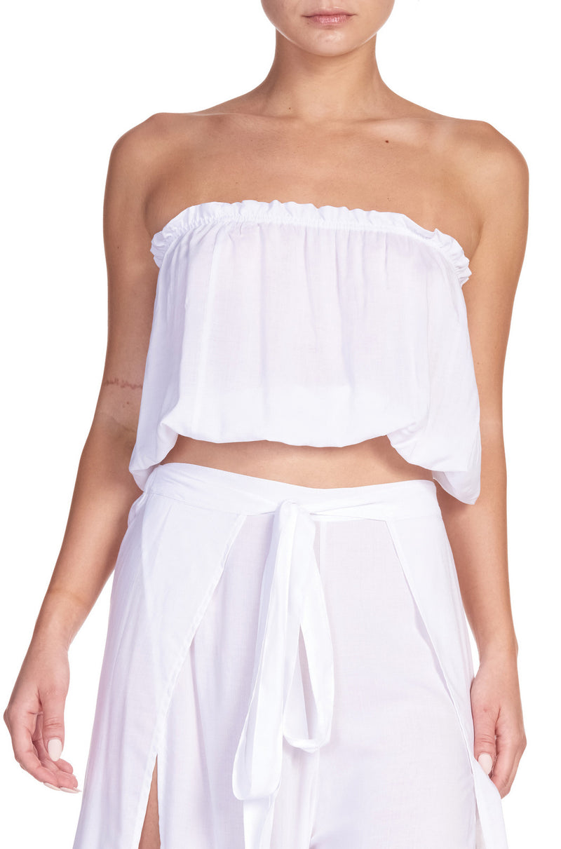 White Ruffled Tube Top