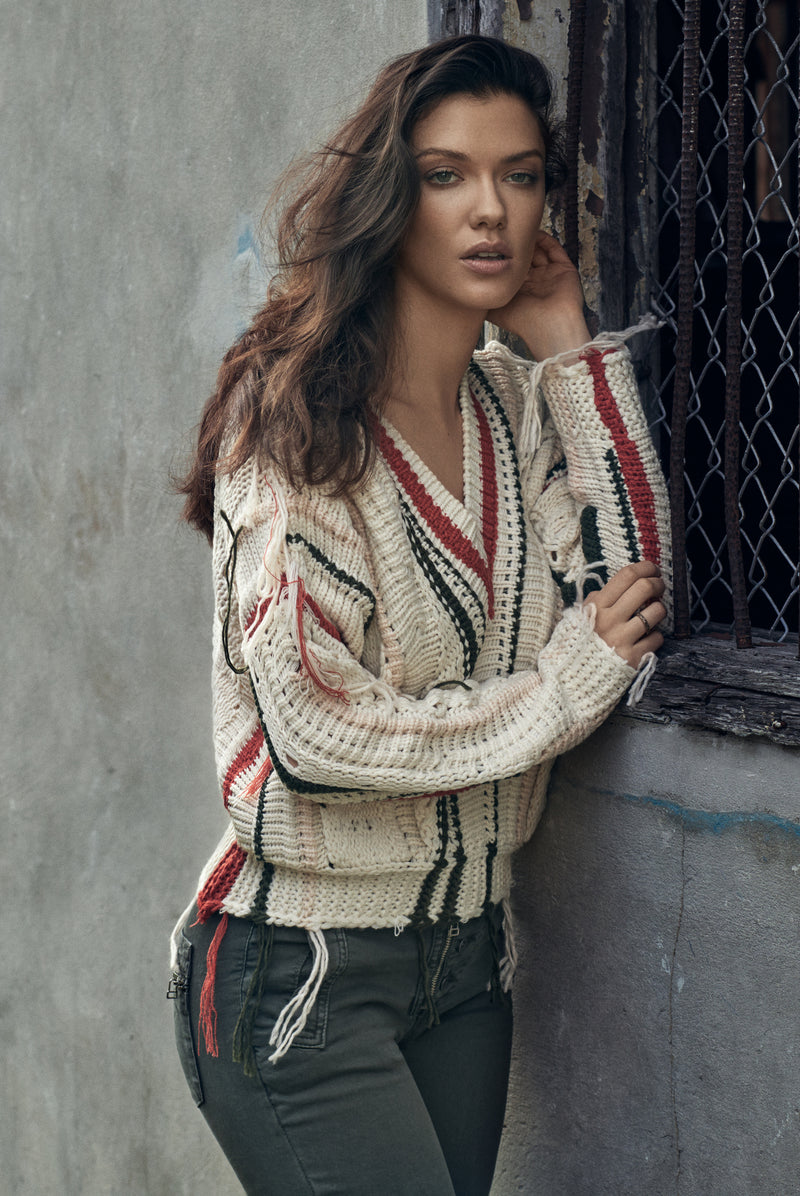 Natural Multi Fringe Sweater