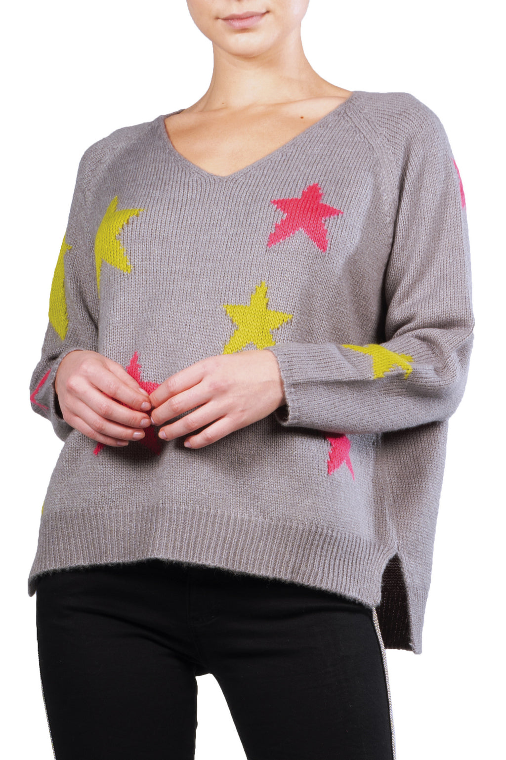 Grey Lime Magenta Star Sweater