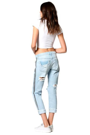 Striped Boyfriend Jean