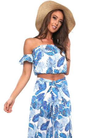 Blue Palms Crop Top