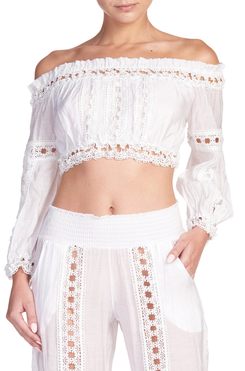 Lace White Cropped Top