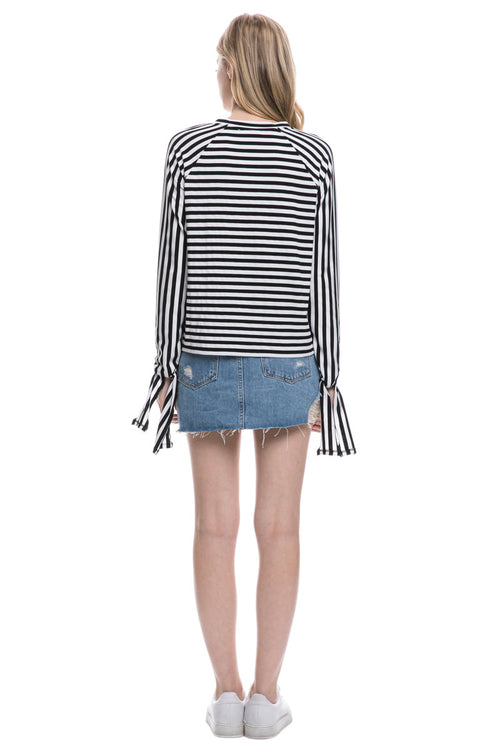 Stripe Tied Sleeves Top