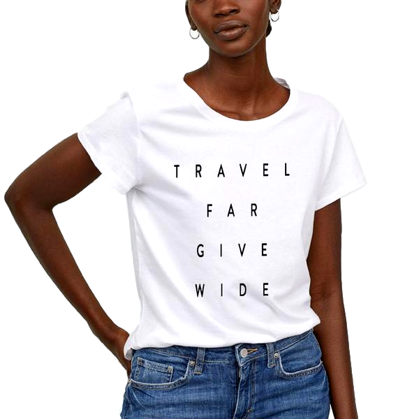 Travel Far Give Wide Tee - White