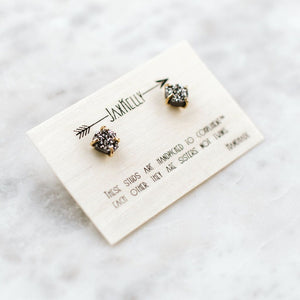 JaxKelly - Silver Druzy Prong Earrings
