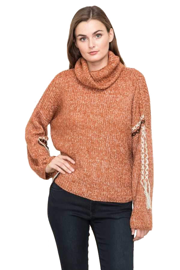 Hand Stitch Turtle Neck Pullover