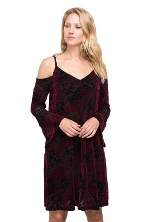 Cold Shoulder Bell Sleeve Dress