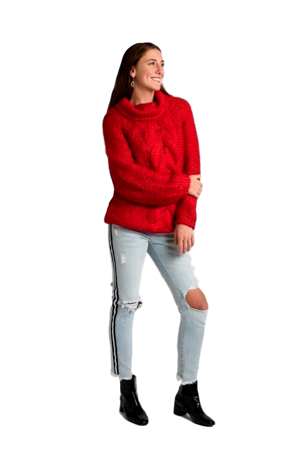Red Handmade Chunky Cable Knit Sweater