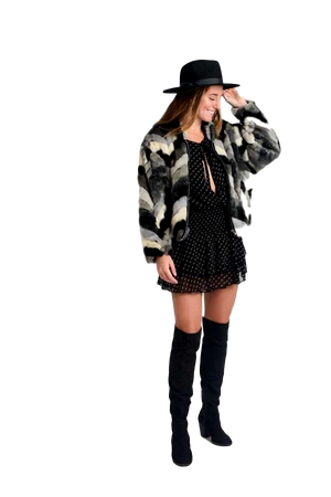 Multi-Grey Faux Fur Coat