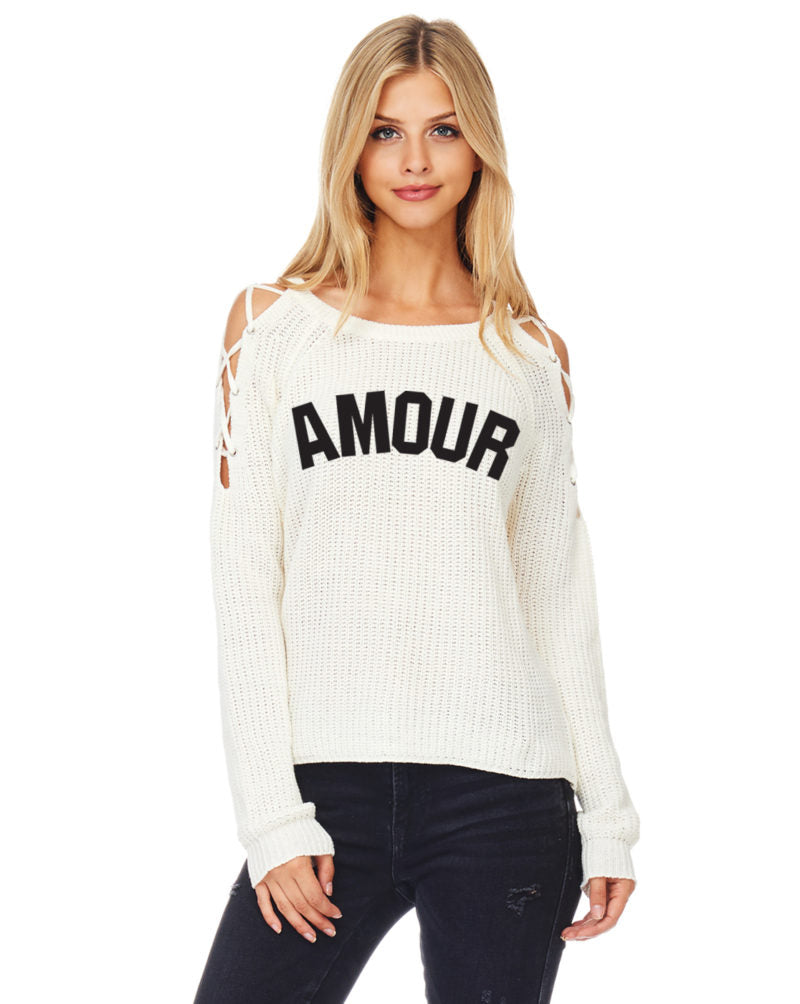 Amour Lace Up Sweater